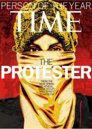 Le manifestant anonyme, élu personnalité de l'année. - Time, mercredi 14 décembre 2011.