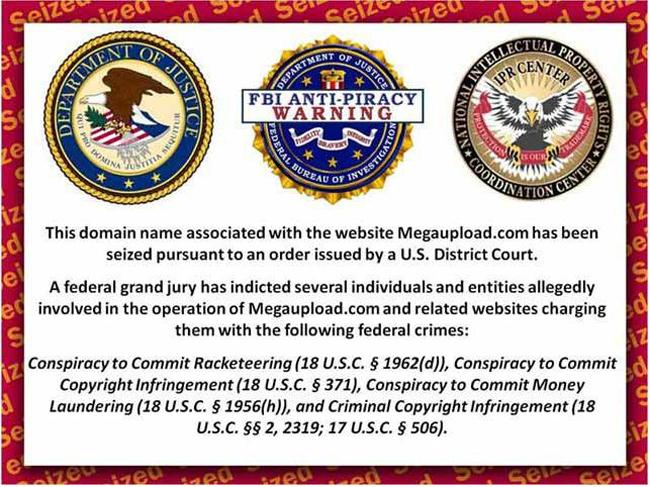 Message de la justice américaine sur le home page de Megaupload.com