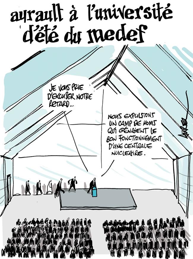 Les dessins de la semaine : les excuses d'Ayrault au Médef et la mort de Moon