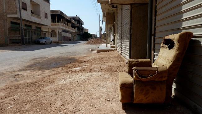 Village de Taftanaz, au nord-ouest de la Syrie, déserté par une grande partie de ses habitants. - AFP / Hervé Bar / 1er septembre 2012