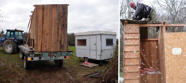 Le premières cabanes sont installées sur la «Zad» du bois de Tronçay - Photos [Adret Morvan->http://adretmorvan.org/ZAD.php]