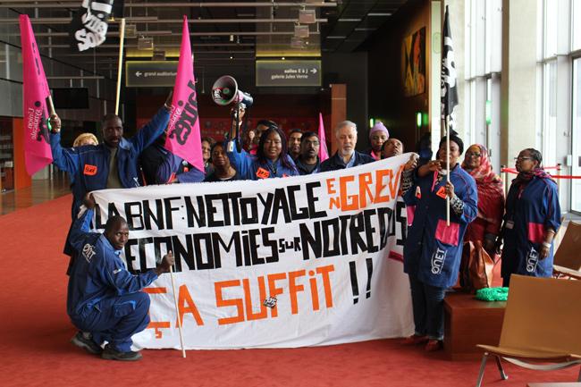 """""""La BNF nettoyage en grève, les économies sur notre dos ça suffit!"""" - EM."""