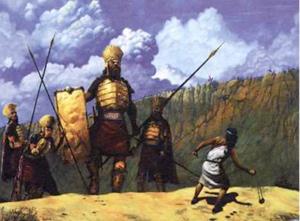 David contre Goliath et les Phillistins - [michelledastier.org->http://www.michelledastier.org/images/Hommes%20particuliers/Personnages%20bibliques/David%20et%20Goliath.jpg]