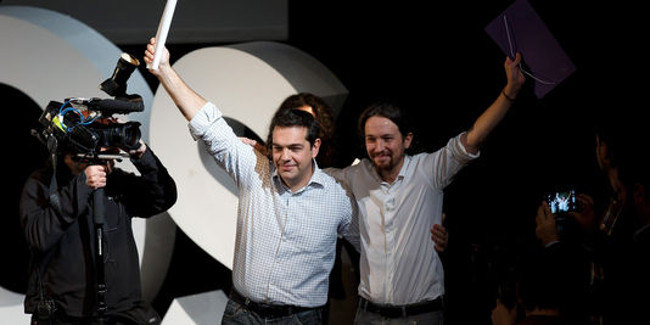 Alexis Tsipras (Syriza) et Pablo Iglesias (Podemos) - (photo : AFP/Getty Images/ Pablo Blazquez Dominguez)