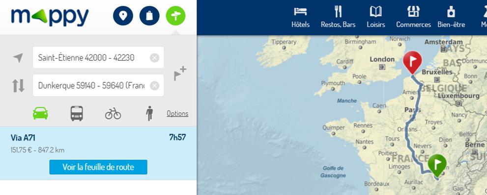 Capture d'écran du site Mappy.fr