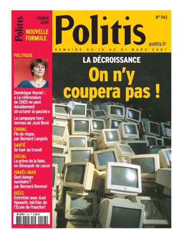Couverture de l'Hebdo Politis N°943